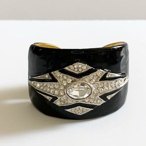Vintage Jewelry - Vtg KJL Kenneth Lane Black and Rhinestone Bracelet